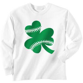 Softball Tshirt Long Sleeve Shamrock Softball Stitches