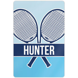 "Tennis Aluminum Room Sign Personalized 2 Tier Crossed Tennis Rackets (18"" x 12"")"