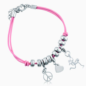 Peace. Love. Basketball Silver Stick Figure Charm Bracelet