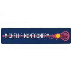 """Girls Lacrosse Aluminum Room Sign - Stick With Your Name  (4""""x18"""")"""
