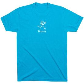 Tennis Tshirt Short Sleeve Tennis Girl White Stick Figure with Word