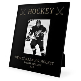 Hockey Engraved Picture Frame Hockey & Crossed Sticks