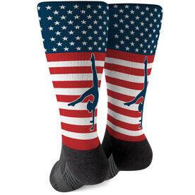 Gymnastics Printed Mid-Calf Socks - USA Stars and Stripes (Girl Gymnast)