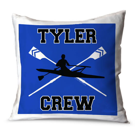 Crew Throw Pillow Personalized Crew With Crossed Oars And Guy Rower