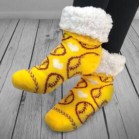 Softball Slipper Socks with Sherpa Lining
