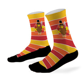 Softball Printed Mid Calf Socks Cute Turkey With Stripes