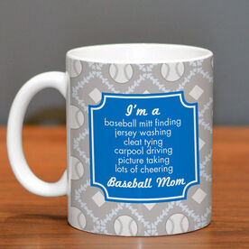 Baseball Coffee Mug Mom Poem With Ball Pattern