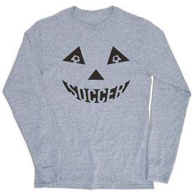 Soccer Tshirt Long Sleeve - Soccer Pumpkin Face