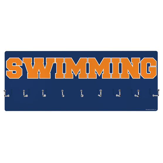 Swimming Hooked on Medals Hanger - Word