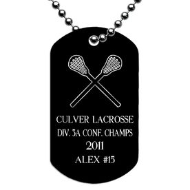 Engraved Personalized Lacrosse Dog Tag Necklaces