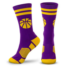 Basketball Woven Mid-Calf Socks - Ball (Purple/Gold)