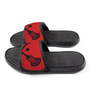 Guys Lacrosse Repwell® Slide Sandals - Crossed Sticks with Ball Close Up