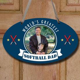 World's Greatest Softball Dad Custom Photo Decorative Oval Sign