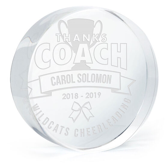 Cheerleading Personalized Engraved Crystal Gift - Thanks Coach Banner