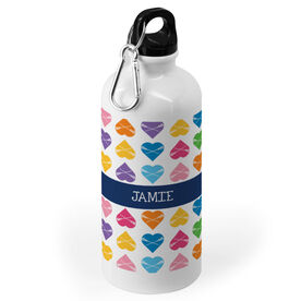 Girls Lacrosse 20 oz. Stainless Steel Water Bottle - Personalized Heart Pattern With Name