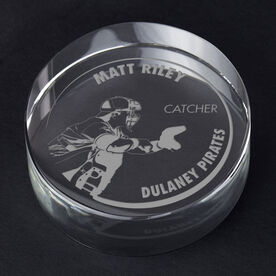Baseball Personalized Engraved Crystal Gift - Customized Catcher