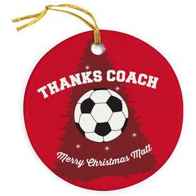 Soccer Porcelain Ornament Thanks Coach Soccer