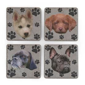 Personalized Stone Coasters Set of Four - Custom Dog Face