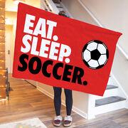 Soccer Premium Blanket - Eat. Sleep. Soccer. Horizontal