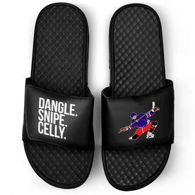 Hockey Black Slide Sandals - Dangle Snipe Celly