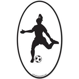 Soccer Girl Oval Car Magnet (Black)