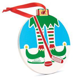 Hockey Round Ceramic Ornament - Elf Graphic