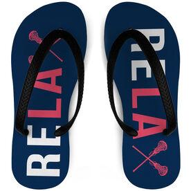 Girls Lacrosse Flip Flops Relax