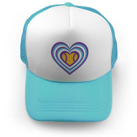 Softball Trucker Hat Radial Hearts