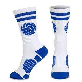 Volleyball Woven Mid-Calf Socks - Ball (White/Royal)