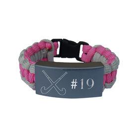 Field Hockey Paracord Engraved Bracelet - Field Hockey With 1 Line/Pink