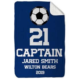 Soccer Sherpa Fleece Blanket - Personalized Captain