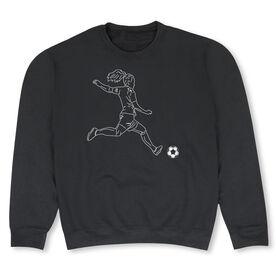 Soccer Crew Neck Sweatshirt - Soccer Girl Player Sketch