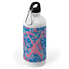 Field Hockey 20 oz. Stainless Steel Water Bottle - Floral Crossed Sticks