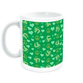 Volleyball Coffee Mug Peace Love Pattern