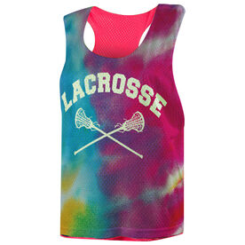 Girls Lacrosse Racerback Pinnie - Tie-Dye Pattern with Lacrosse Sticks (Pink) [Adult Large / Adult X-Large] -SS
