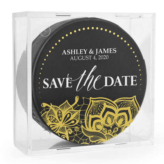 Personalized Hockey Puck - Save The Date
