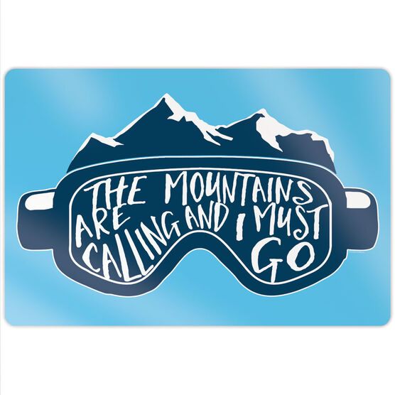 "Skiing & Snowboarding 18"" X 12"" Aluminum Room Sign - The Mountains Are Calling Goggles"