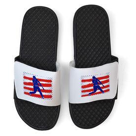 Baseball White Slide Sandals - USA Batter Silhouette