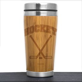 Hockey Bamboo Travel Tumbler Hockey with Crossed Sticks