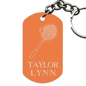 Engraved Personalized Tennis Dog Tag Keychain