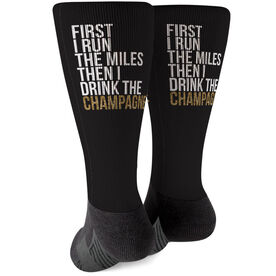 Running Printed Mid-Calf Socks - Then I Drink The Champagne