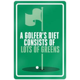 """Golf Aluminum Room Sign (18""""x12"""") A Golfer's Diet"""