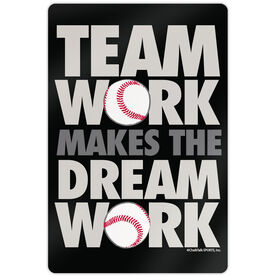 "Baseball Aluminum Room Sign (18""x12"") Team Work"