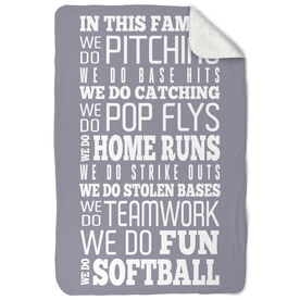 Softball Sherpa Fleece Blanket We Do Softball