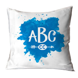 Cross Country Throw Pillow Watercolor Monogram