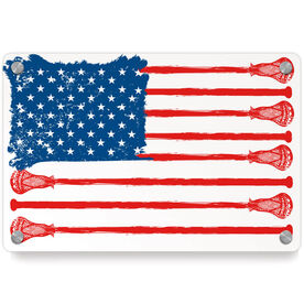 Guys Lacrosse Metal Wall Art Panel - American Flag