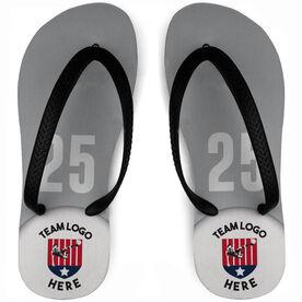 Soccer Flip Flops Custom Team Logo With Number