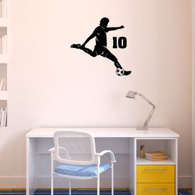 Personalized Soccer Player Guy Removable ChalkTalkGraphix Wall Decal