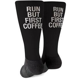 Running Printed Mid-Calf Socks - Run But First Coffee