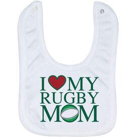 Rugby Baby Bib - I Love My Rugby Mom